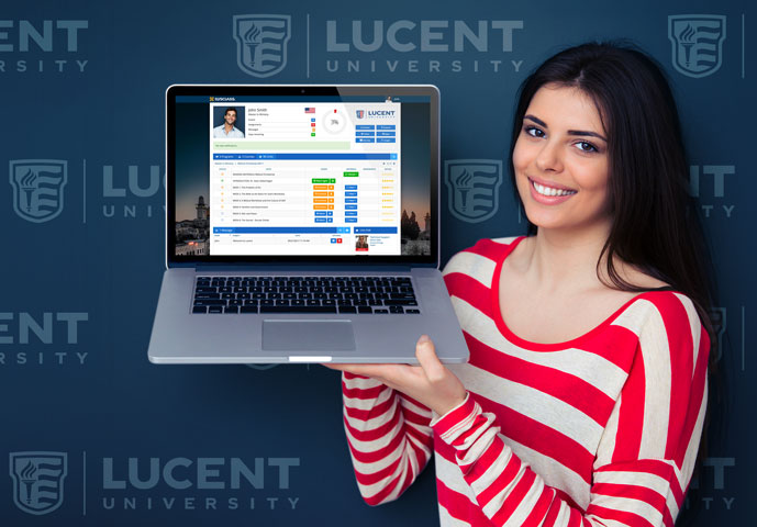 Girl with Lucent laptop